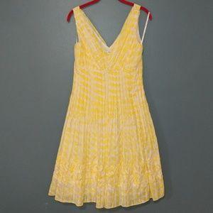 Suzi Chin Silk Yellow & White Flare Dress sz 6